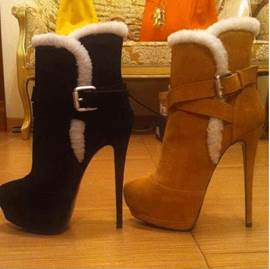 Classy Suede Stiletto High Heel Ankle Boots With Buckle