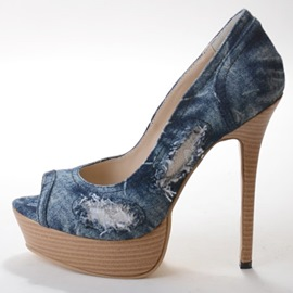 Classic Denim Peep Toe High Heel Pumps