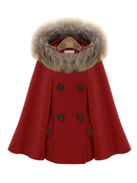 Ericdress Fox Fur Collar Woolen Coat