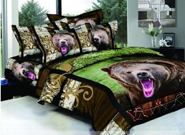 Extraordinary 4-Piece Black Bear Print Comforter Sets of 100% Cotton