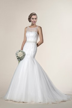 Mysterious Trumpet/Mermaid Sleeveless Beading Scoop Neck Chapel Train Wedding Dress