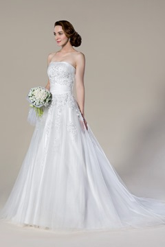 Faddish Strapless Appliques Court Train Sleeveless A-line Wedding Dress