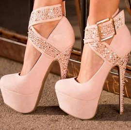 Fashion White Suede Ankle Wrap Stiletto Heels With Straps