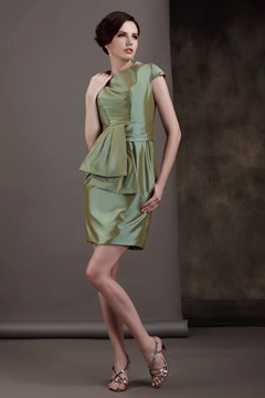 Pleats Sashes/Ribbons Short-Sleeves Knee-Length Round-Neckline Luba's Mother of The Bride Dress