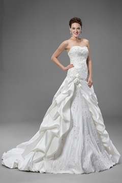 Beautiful Flowers Lace-up Sweetheart A Line Wedding Dress