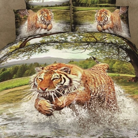 Modern Fierce Tiger Print 4 Piece Whole Cotton Bedding Sets