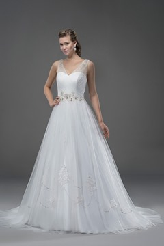 Glamorous A-line Sleeveless Tulle Beading V-Neck Chapel Train Wedding Dress