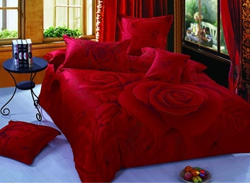 Luxurious Great Rose Printing 4 Piece Red Cotton Wedding Bedding Sets
