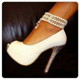 Elegant White Pearl Ankle Strap Peep Toe High Heel Shoes