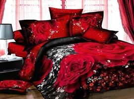 Romantic Red Rose 100% Cotton Bedding Sets