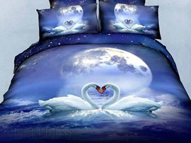 Romantic Moon Swan 4PC 100% Cotton Bedding Sets
