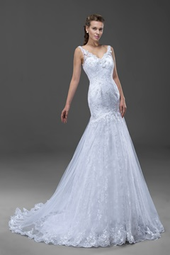 Attractive Mermaid/Trumpet Flowers Backless Lace Wedding Dress