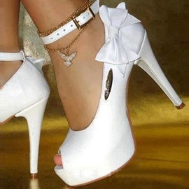 Ericdress White PU Peep Toe Bowtie High Heel Wedding Shoes