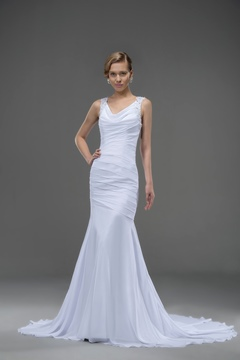 Modern V-Neck Draped Chapel Train Dropped(low)Waistline Chiffon Trumpet/Mermaid Wedding Dress