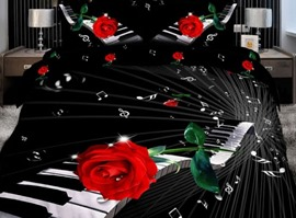 3D Nice Music Rose 100% Cotton Bedding Sets