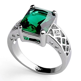 Gorgeous Green Zircon And Pure Siver Circle Ladys Ring