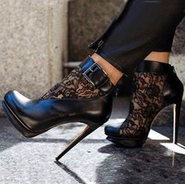 Sexy Black Lace Cut-Outs High Heel Boots
