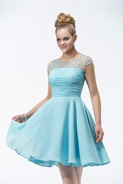 Style A-Line Sleeveless Beading Bridesmaid Dress