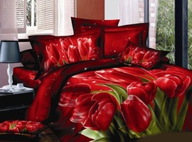 Vivid Tulip 100% Cotton 3D Bedding Sets