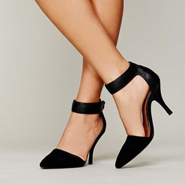 Fashionable Black Stiletto Heels Suede Pointed Toe Back Strap Stiletto Sandals