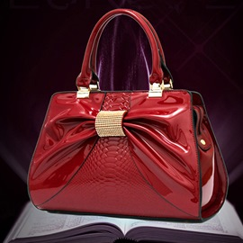 Fashion Patent Leather Bowkont Handbag for Women