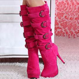 Ericdress Bright Strappy Buckles Knee High Boots