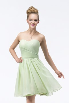 Modern A-line Knee-length Sweetheart Strapless Bridesmaid Dress