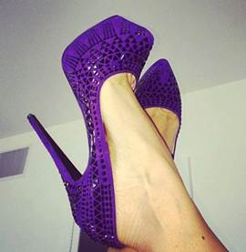 Elegant Purple Rhinstone Decoration Platform High Heel Shoes