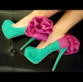 Fashionable Green & Rose Contrast Colour Big Flower Decoration High Heel Shoes