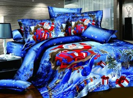 Blue Santa Claus 100% Cotton Kids Bedding Sets