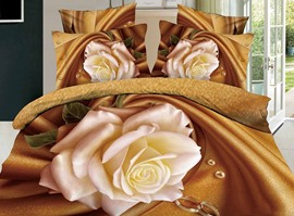 Pure Yellow Rose 3D 100% Cotton Bedding Sets