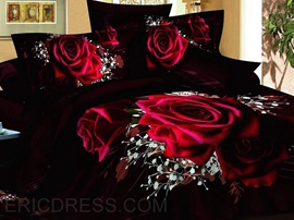 100% Cotton Luxury Romantic Red Rose 3D Bedding Sets