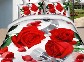 Beauty Happiness Red Roses 3D 100% Cotton Bedding Sets