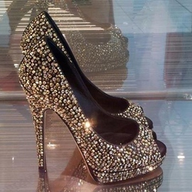 Rhinestone & Glitter Decoration High Heel Shoes