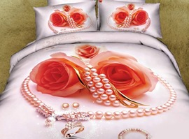 Romantic Pearl Flowers 100% Cotton Wedding Bedding Sets