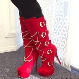 Ericdress Red Metal Chain&buckles Decorated Knee High Boots