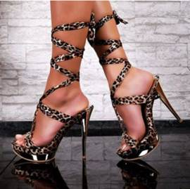 Sexy Leopard Grain Peep Toe Chic Ankle Strap High Heel Shoes