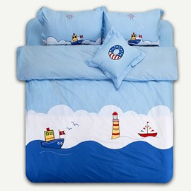 Blue Sailing Dream 100% Cotton Kids Bedding Sets