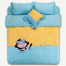 Blue Little Monkey 100% Cotton Kids Bedding Sets
