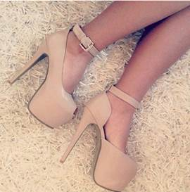 Gorgeous Coppy Leather Peep Toe High Heel Shoes