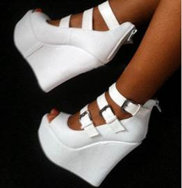 Elegant White Coppy Leather Wedge Ankle Strap Shoes