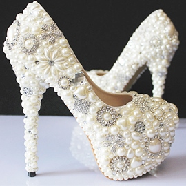 Popular Rhinestone Pearls High Heel Wedding Shoes