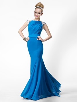 Stylish Mermaid/Trumpet Floor-length Bateau Zipper-up Beading Evening Dress