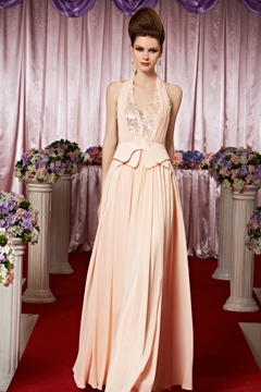 Awesome A-line Floor-length Halter Pleats Evening Dress
