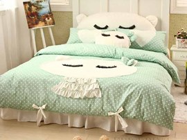 Cute Light Green Kitty 100% Cotton Kids Bedding Sets