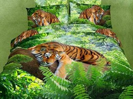 Jungle tiger 100% Cotton 3D Bedding Sets