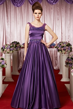 Elegent Scoop Beading Floor-length A-line Evening Dress