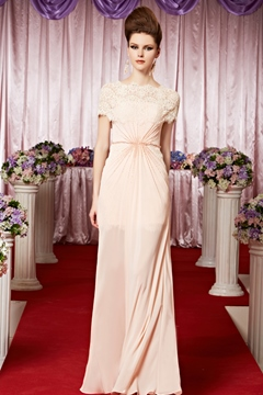 Fresh A-line Beading with Cape Floor-length Evening/Prom Dress