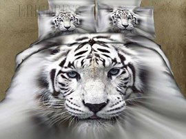 Special White Tiger 100% Cotton Animal Printing Bedding Sets