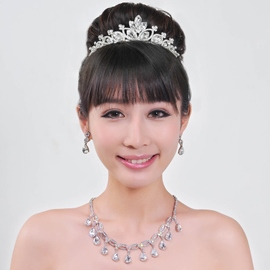 Stunning Alloy with Rhinestone Wedding Jewelry Set Including Tiara